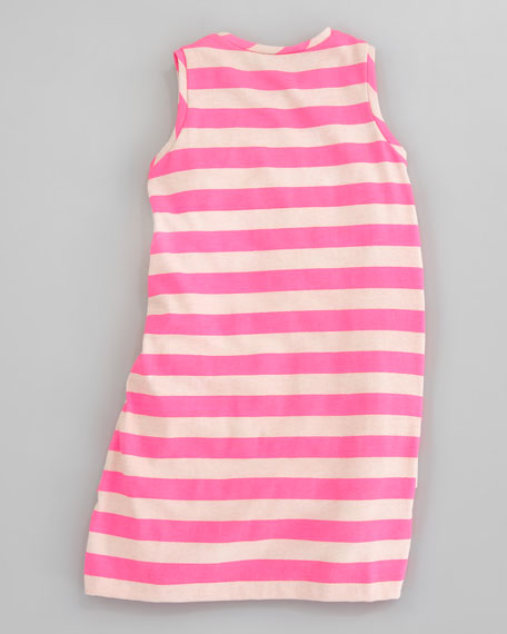 Striped Jersey Ruffle Tiered Dress,Sizes 2T-3T
