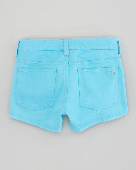 Neon Electric Blue Stretch Denim Shorts, Sizes 2-6