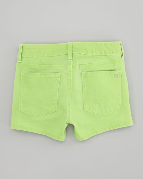 Neon Green Glow Stretch Denim Shorts, Sizes 2-6