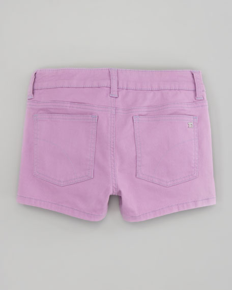 Neon Stretch Denim Shorts, Neon Purple