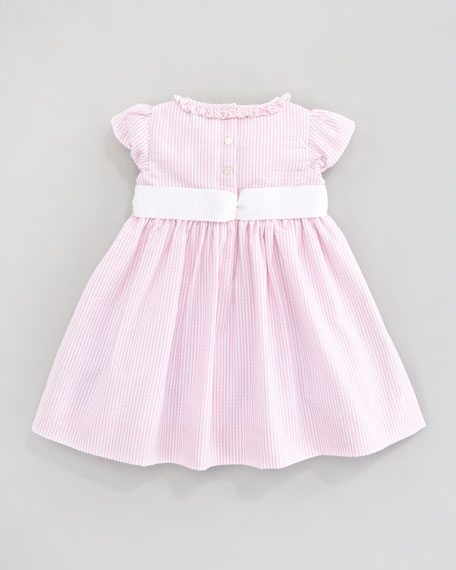 Short Sleeve Seersucker Dress, Pink