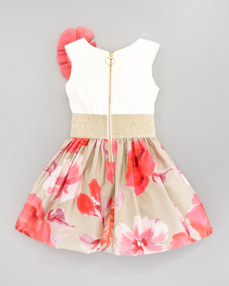 Metallic Waist Floral-Print Dress, Sizes 2-6