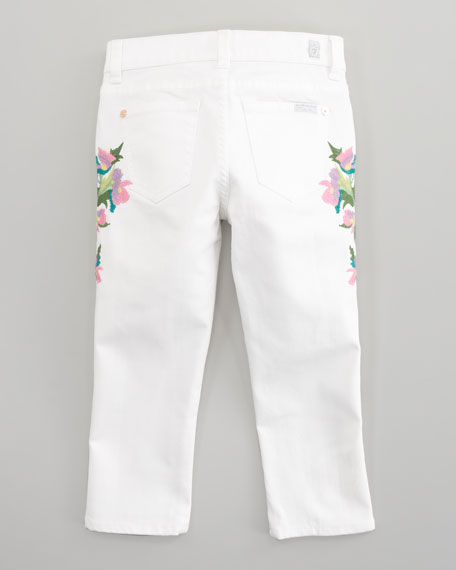 Floral-Embroidered Cropped Skinny Jeans, Sizes 4-6X