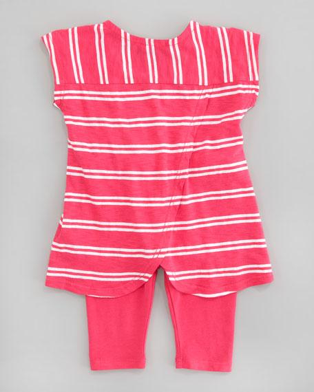 Double French Stripe Tunic &  Capri Leggings Set, Flamingo