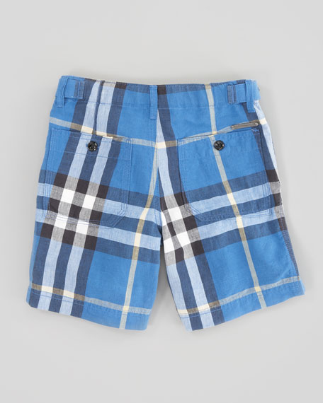 Mini Check Shorts, Cornflower Blue