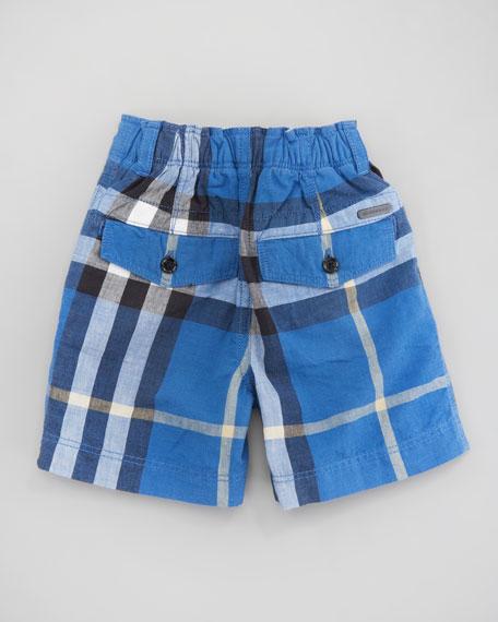 Mini Cornflower Blue Voile Check Shorts