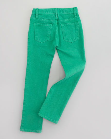 Skinny Crayon Denim Jeans, Hulk Green