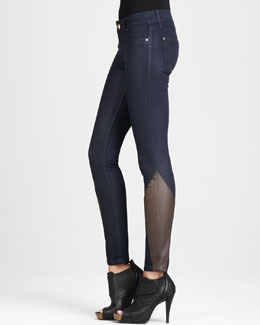 DL 1961 Premium Denim Bag Snob Essentials Emma Cocktail Leather-Detail Leggings
