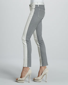 Rich and Skinny Split Skinny Jeans, Oyster