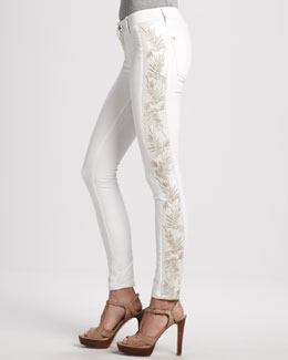 DL 1961 Premium Denim Emma Chantilly Side-Embroidery Leggings
