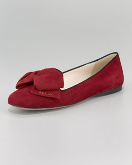 Prada Suede Bi-Color Bow Slipper
