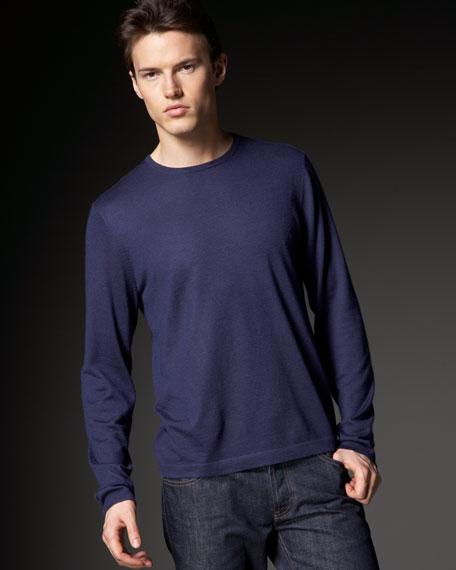 Cashmere Fine-Knit Sweater, Dark Natural