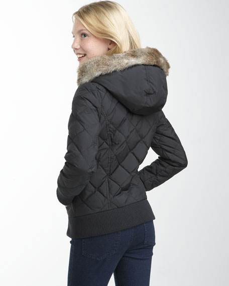 Faux-Fur-Hood Puffer Jacket, 2-6