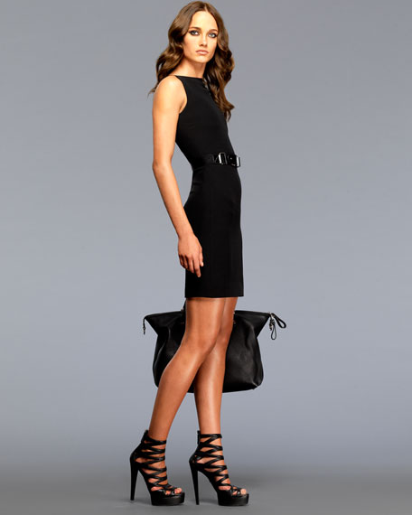 Sleeveless Shift Dress with Scoop Back