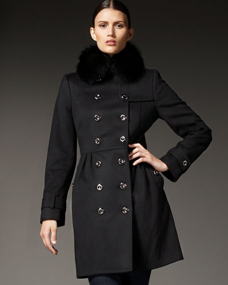 Fox-Collar Wool-Cashmere Trench Coat