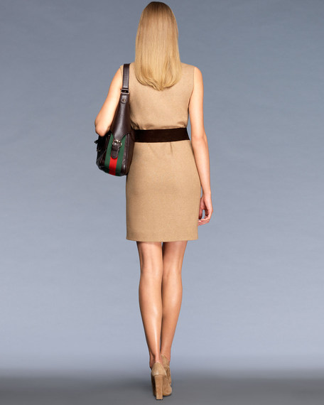 Sleeveless Belted Dress with Cowl Neck