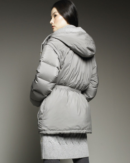 Quilted-Yoke Wind Storm Puffer Jacket
