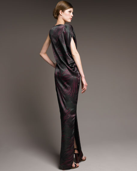 Belted Palm-Print Gown