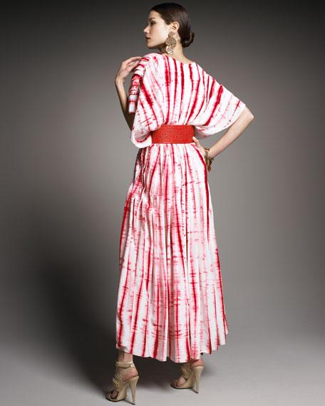 Shibori-Chiffon Caftan Dress