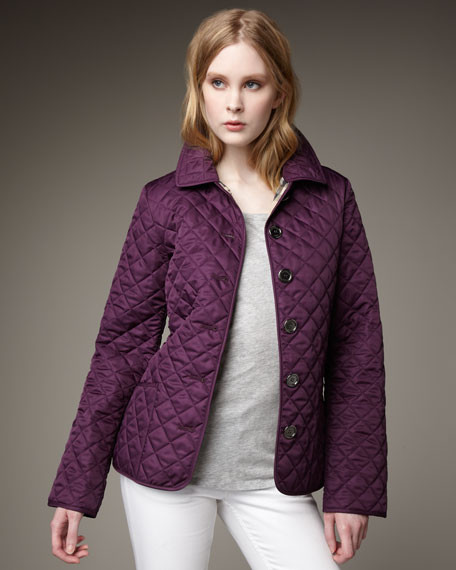 Quilted Coat, Grape