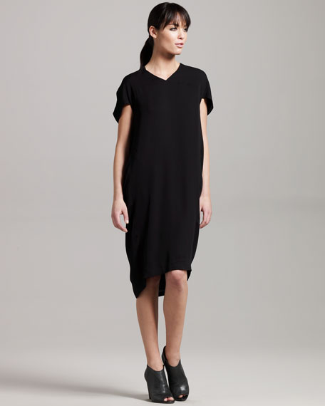 Drape-Sleeve Shift Dress