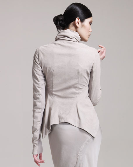 Asymmetric Leather Jacket, Pearl