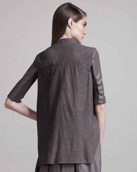 Leather Wedge Jacket, Dust