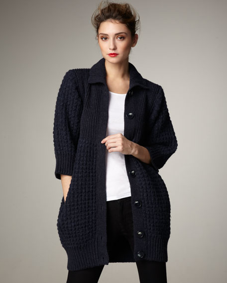 Long Button-Front Sweater