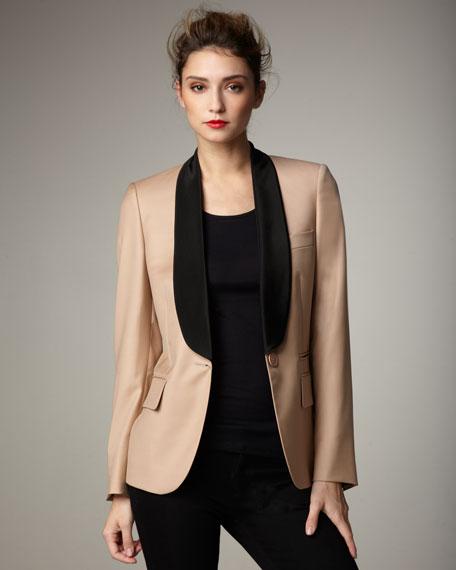 Contrast-Lapel Jacket
