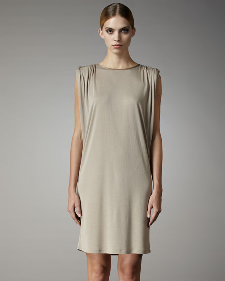 Ruched-Shoulder Jersey Dress
