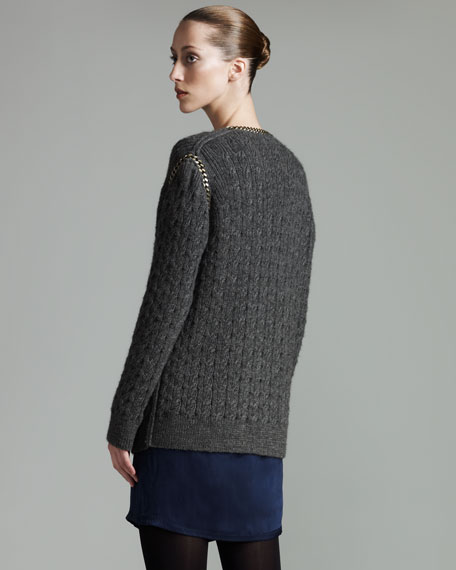 Chain-Trim Cardigan