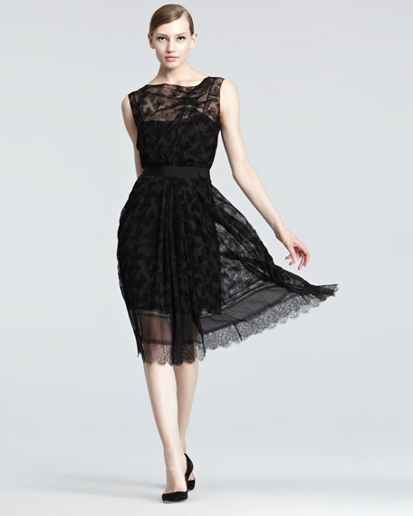 Butterfly-Burnout Velvet Dress