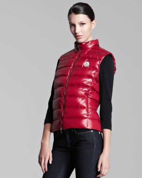 Laque Puffer Vest, Berry