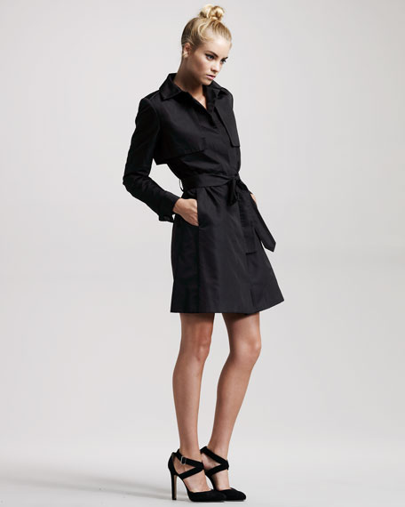 Kelly Belted Silk Trench Dress