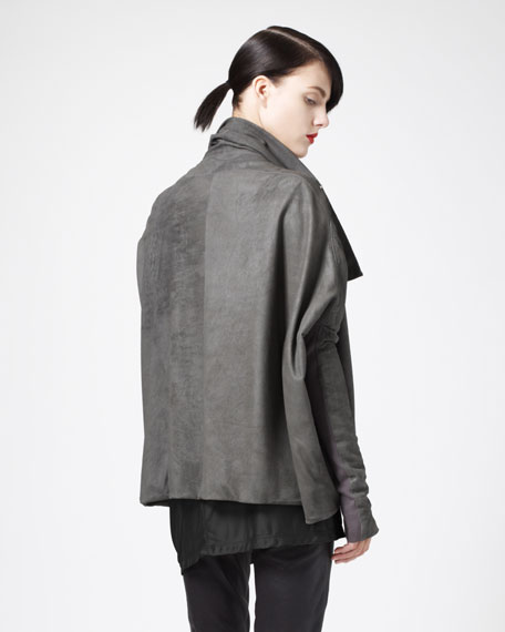 Asymmetric Blistered Leather Jacket
