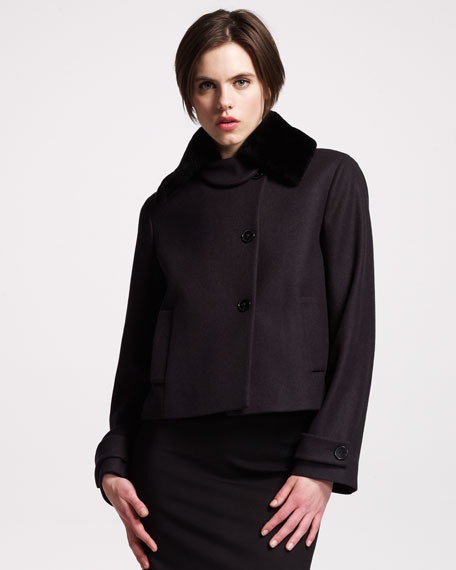 Fur-Collar A-Line Jacket