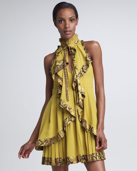 Python-Trimmed Draped Dress