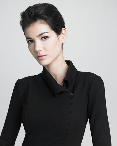 Roll-Neck Zip-Collar Dress