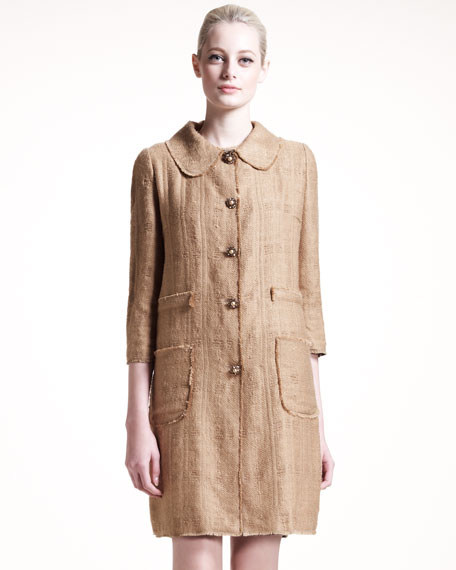Snap-Front Tweed Coat