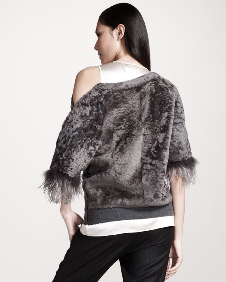 Feather-Trim Shearling Tee