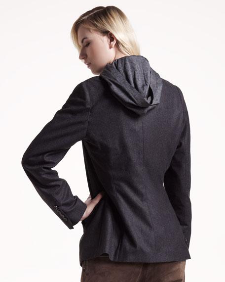 Silk Hooded Top
