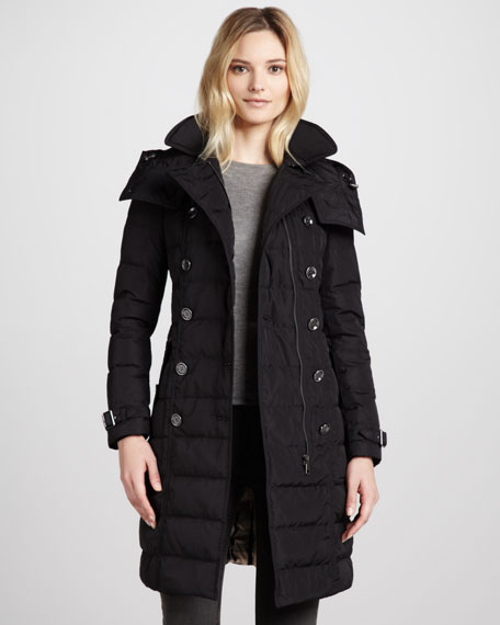 Burberry Brit Belted Puffer Trenchcoat