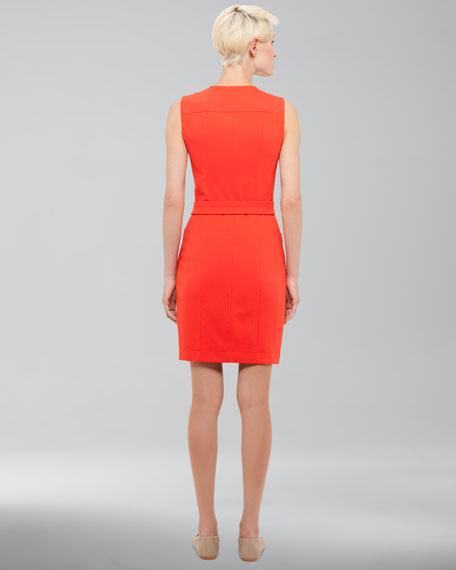 Front-Zip Pocket Dress, Tomate