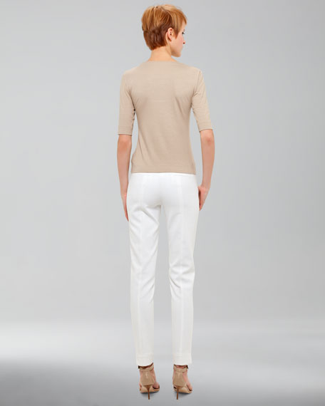 Fabia Tech-Twill Pants, Ecru
