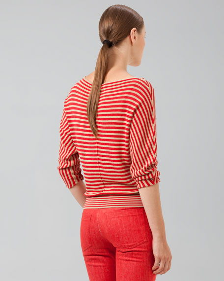 Striped Top with Banded Hem