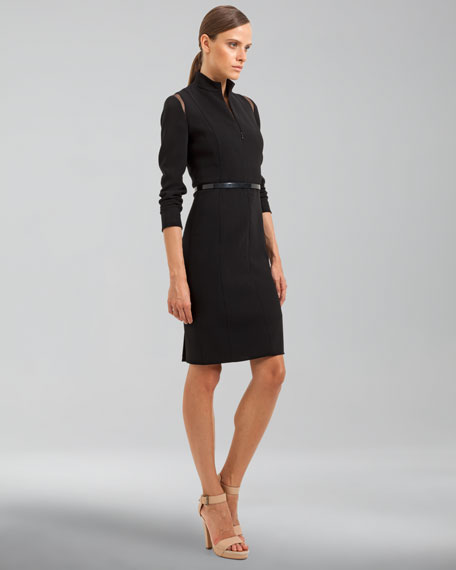 Mandarin-Collar Long-Sleeve Dress