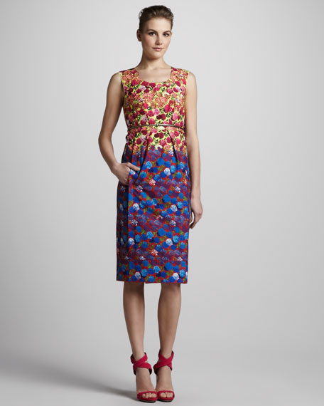 Sleeveless Floral-Print Dress with Belt