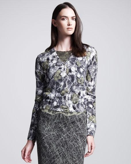 Rose-Print Cardigan, Green