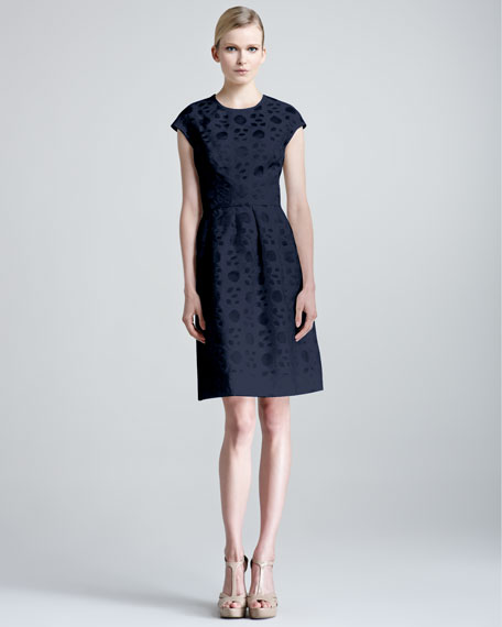 Fil Coupe Cap-Sleeve Dress