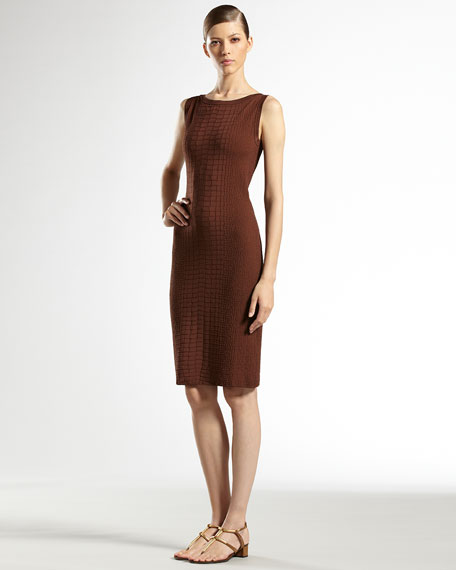 Crocodile-Effect Knit Dress